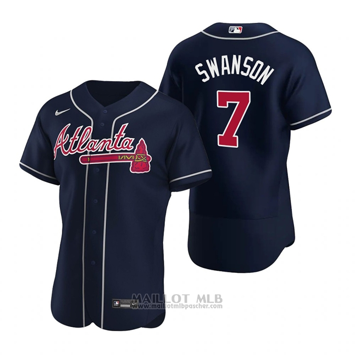 Maillot Baseball Homme Atlanta Braves Dansby Swanson Authentique Alterner 2020 Bleu