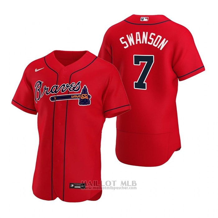 Maillot Baseball Homme Atlanta Braves Dansby Swanson Authentique Alterner 2020 Rouge