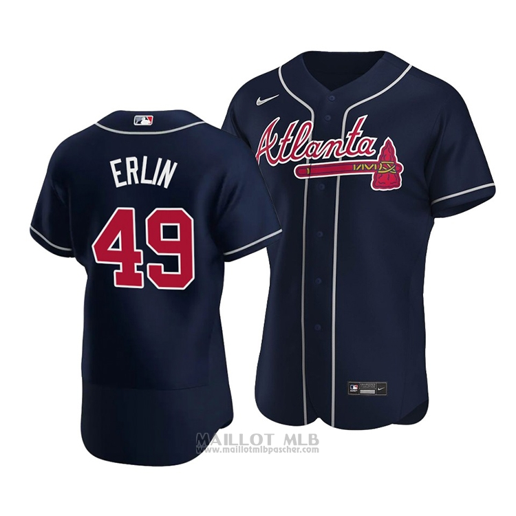 Maillot Baseball Homme Atlanta Braves Robbie Erlin Alterner Authentique 2020 Bleu