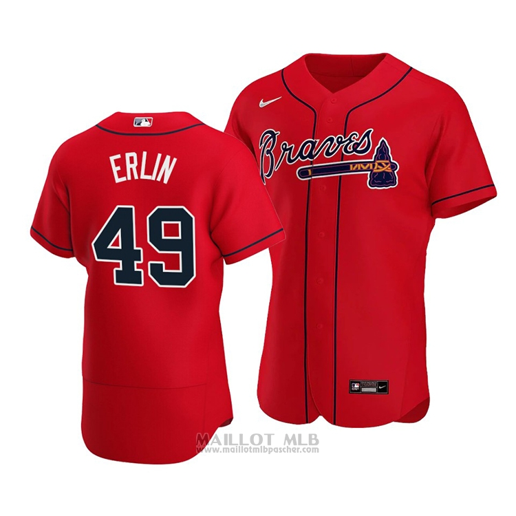 Maillot Baseball Homme Atlanta Braves Robbie Erlin Authentique Alterner 2020 Rouge