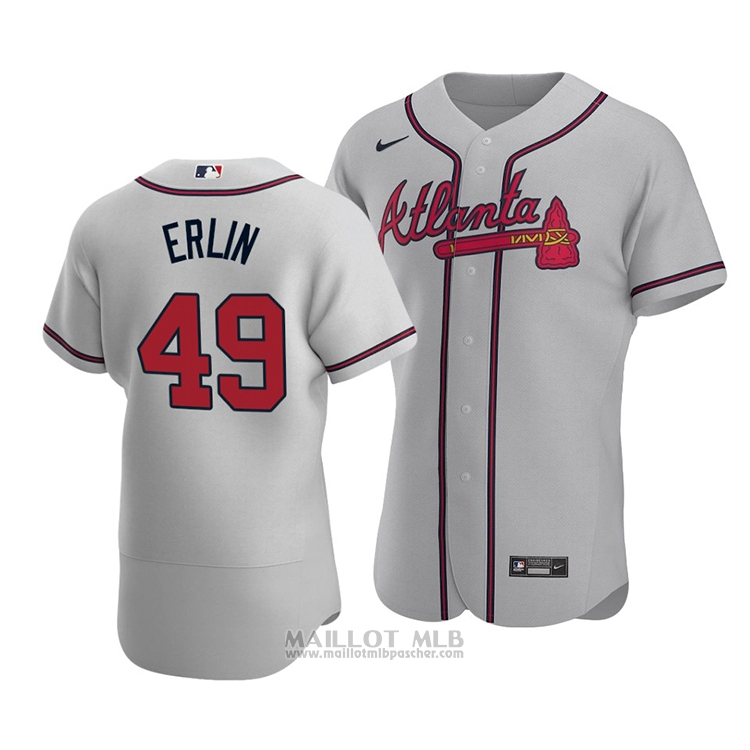 Maillot Baseball Homme Atlanta Braves Robbie Erlin Authentique Road 2020 Gris