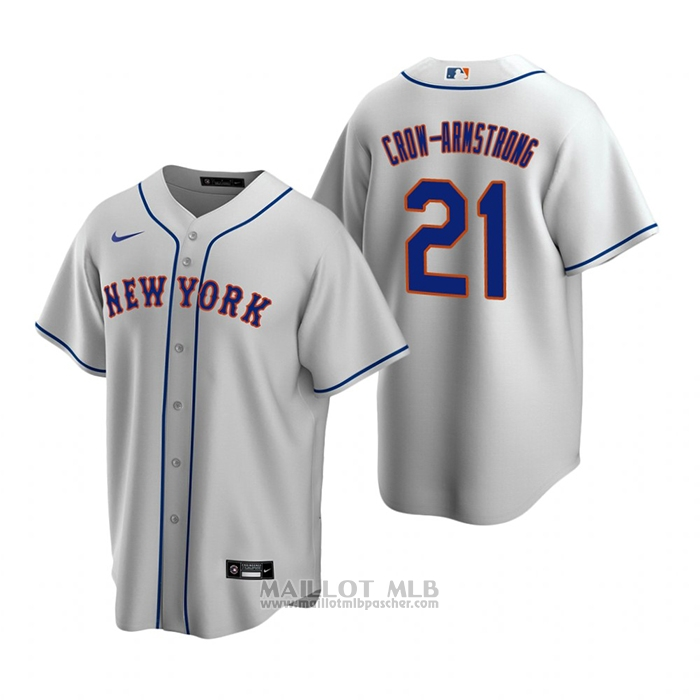 Maillot Baseball Homme New York Mets Pete Crow-Armstrong Replique 2020 Gris