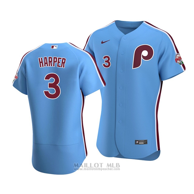 Maillot Baseball Homme Philadelphia Phillies Bryce Harper Authentique Alterner 2020 Bleu