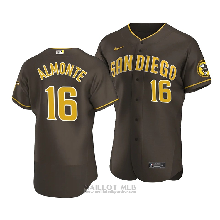Maillot Baseball Homme San Diego Padres Abraham Almonte Authentique Road 2020 Marron