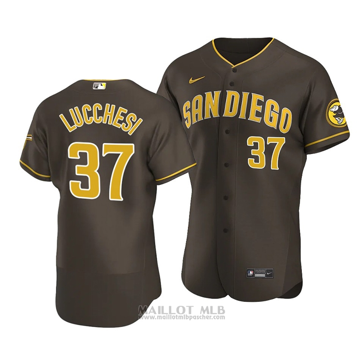 Maillot Baseball Homme San Diego Padres Joey Lucchesi Authentique Road 2020 Marron