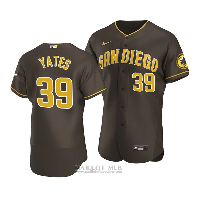 Maillot Baseball Homme San Diego Padres Kirby Yates Authentique Road 2020 Marron
