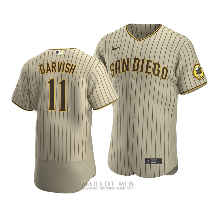 Maillot Baseball Homme San Diego Padres Yu Darvish Authentique Alterner Marron