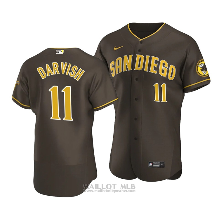 Maillot Baseball Homme San Diego Padres Yu Darvish Authentique Road Marron