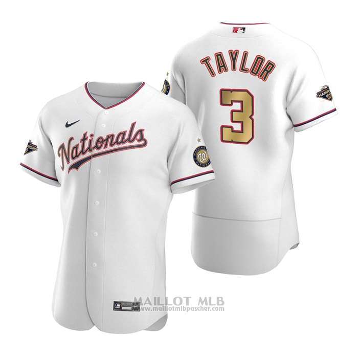 Maillot Baseball Homme Washington Nationals Michael A. Taylor Gold-Trimmed Championship Authentique Blanc
