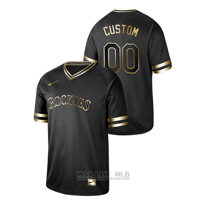 Maillot Baseball Homme Colorado Rockies Personnalise 2019 Golden Edition V Neck Noir