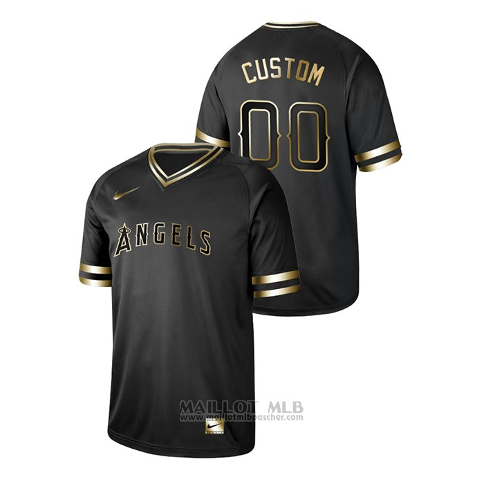 Maillot Baseball Homme Los Angeles Angels Personnalise 2019 Golden Edition V Neck Noir