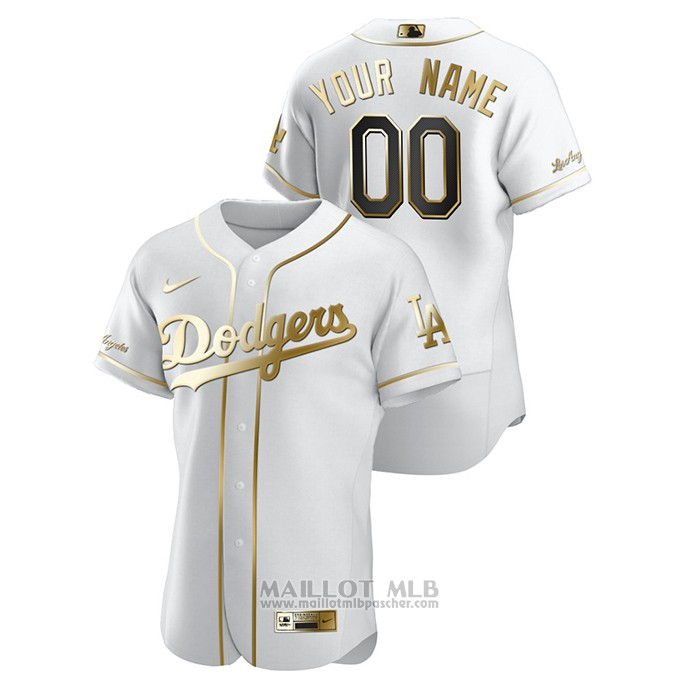 Maillot Baseball Homme Los Angeles Dodgers Personnalise Golden Edition Authentique Blanc