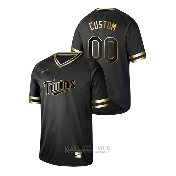 Maillot Baseball Homme Minnesota Twins Personnalise 2019 Golden Edition V Neck Noir