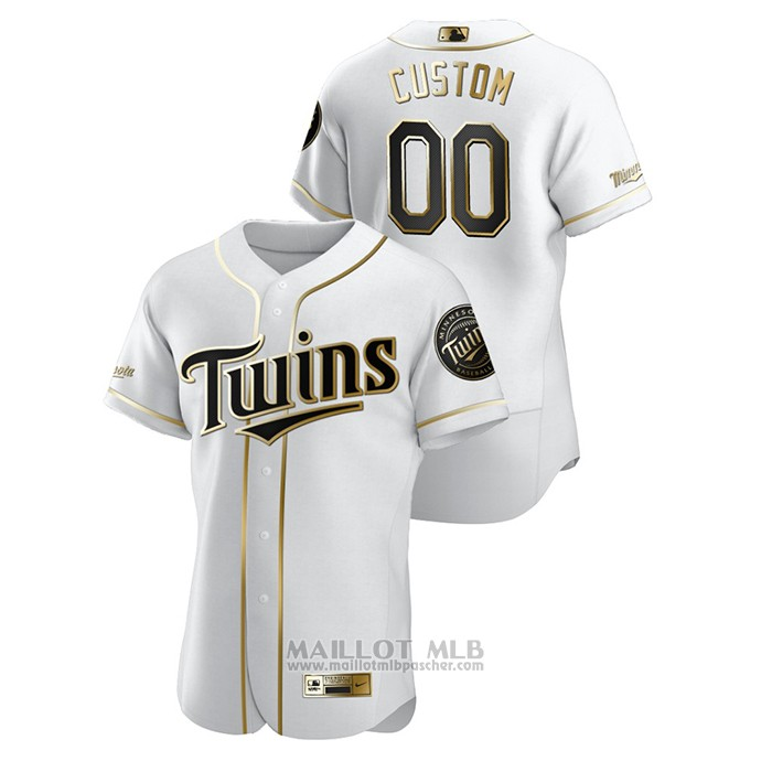 Maillot Baseball Homme Minnesota Twins Personnalise Golden Edition Authentique Blanc