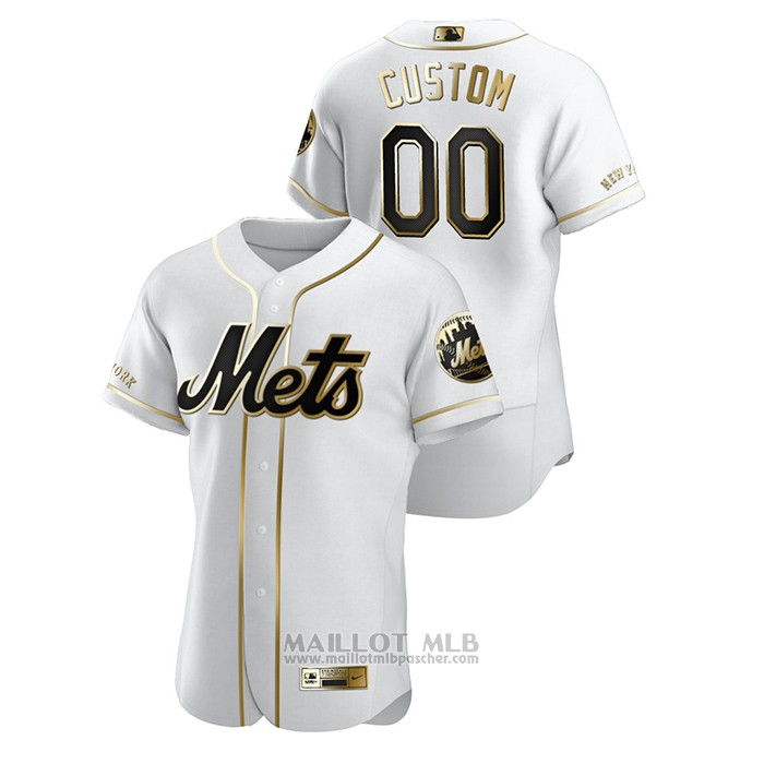 Maillot Baseball Homme New York Mets Personnalise Golden Edition Authentique Blanc