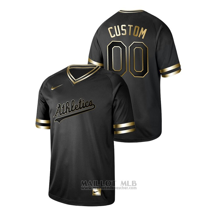 Maillot Baseball Homme Oakland Athletics Personnalise 2019 Golden Edition V Neck Noir
