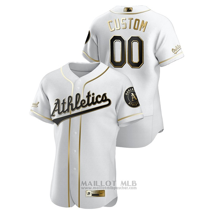 Maillot Baseball Homme Oakland Athletics Personnalise Golden Edition Authentique Blanc