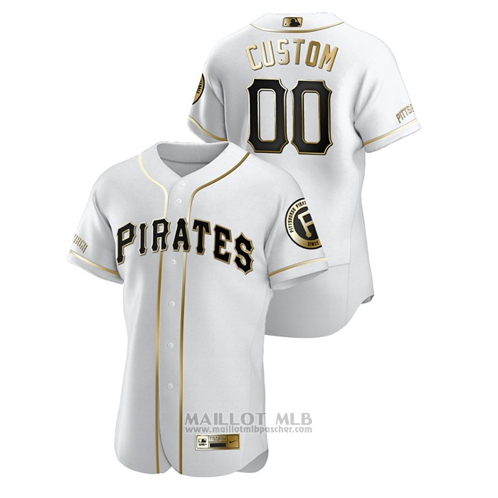 Maillot Baseball Homme Pittsburgh Pirates Personnalise Golden Edition Authentique Blanc