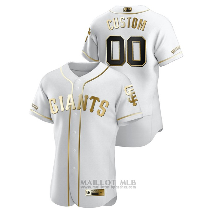 Maillot Baseball Homme San Francisco Giants Personnalise Golden Edition Authentique Blanc