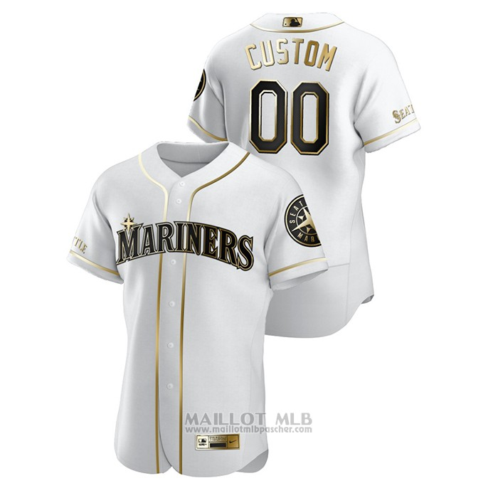 Maillot Baseball Homme Seattle Mariners Personnalise Golden Edition Authentique Blanc