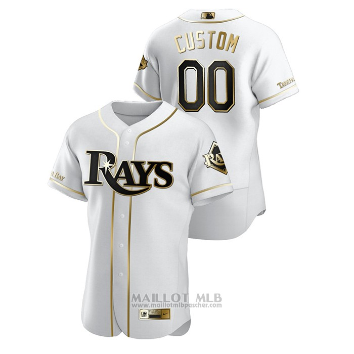Maillot Baseball Homme Tampa Bay Rays Personnalise Golden Edition Authentique Blanc