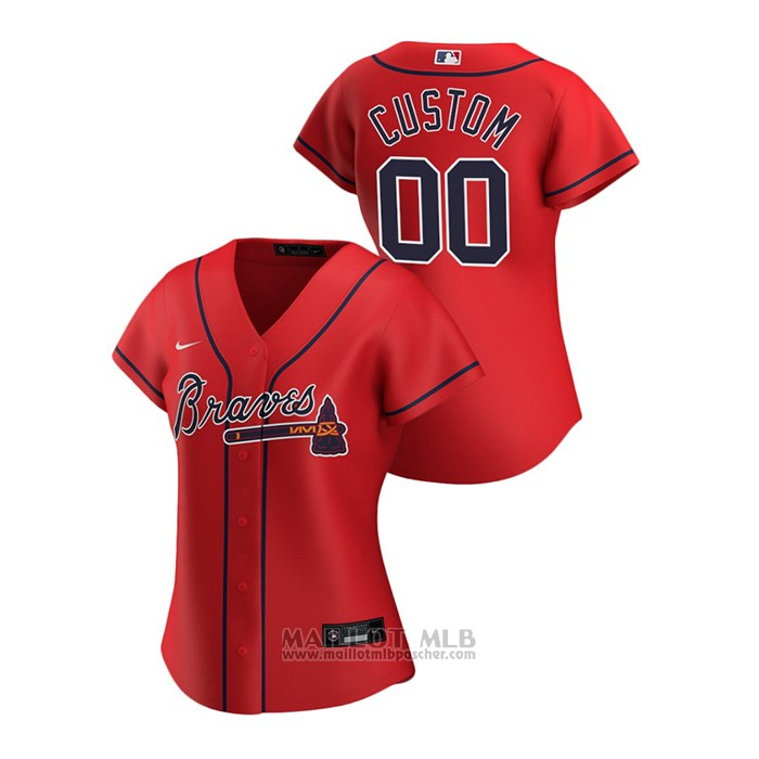 Maillot Baseball Femme Atlanta Braves Personnalise 2020 Replique Alterner Rouge