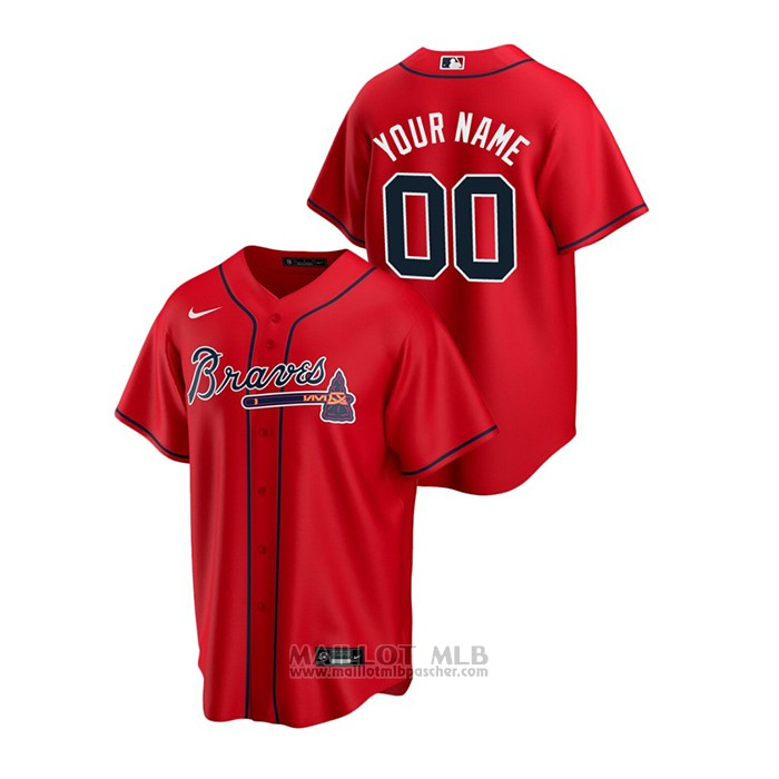Maillot Baseball Homme Atlanta Braves Personnalise 2020 Replique Alterner Rouge