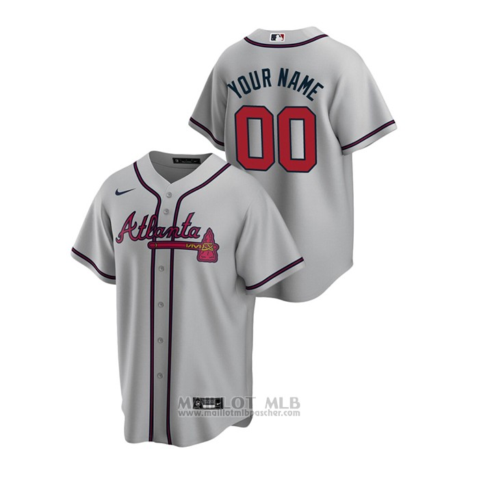 Maillot Baseball Homme Atlanta Braves Personnalise 2020 Replique Road Gris