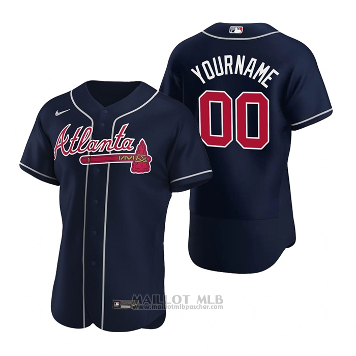 Maillot Baseball Homme Atlanta Braves Personnalise Authentique Alterner 2020 Bleu