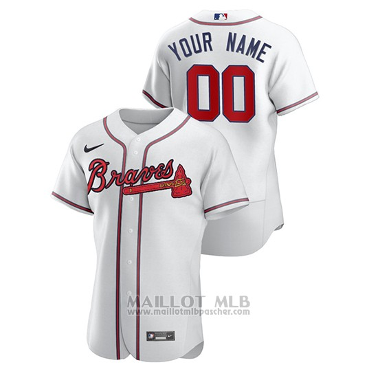 Maillot Baseball Homme Atlanta Braves Personnalise Authentique Nike Blanc
