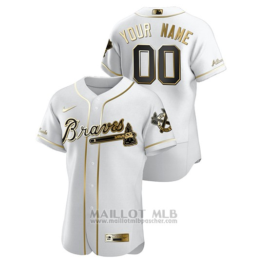 Maillot Baseball Homme Atlanta Braves Personnalise Golden Edition Authentique Blanc