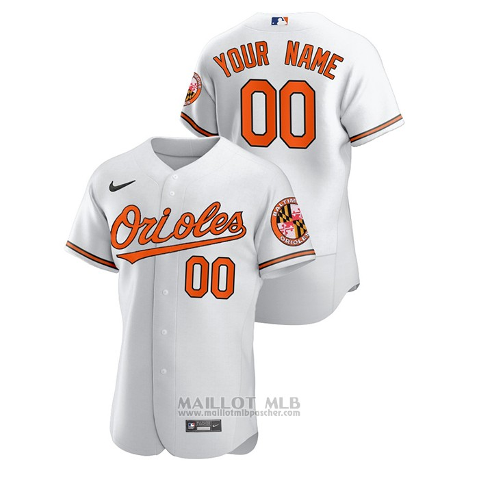Maillot Baseball Homme Baltimore Orioles Personnalise Authentique Blanc