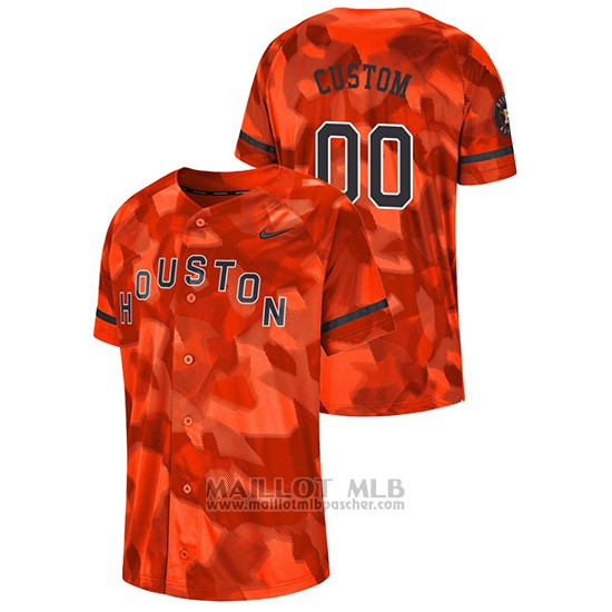 Maillot Baseball Hombre Houston Astros Personnalise Camouflage Authentique Collezione Orange