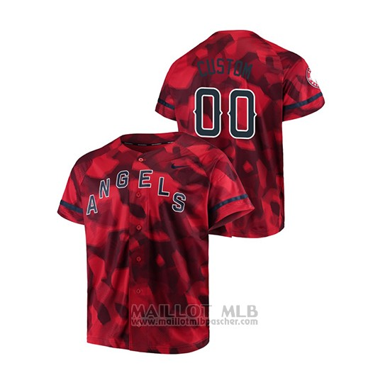 Maillot Baseball Hombre Los Angeles Angels Personnalise Camouflage Authentique Collezione Rouge