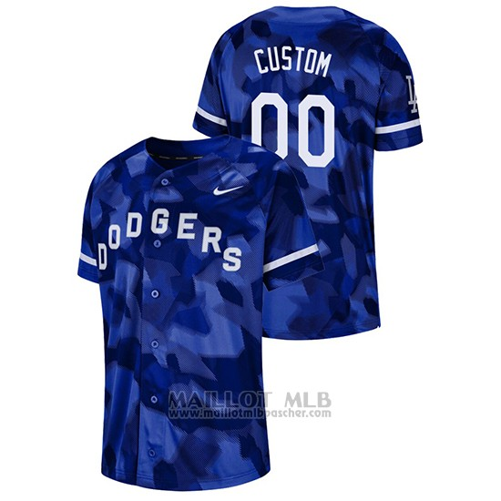 Maillot Baseball Hombre Los Angeles Dodgers Personnalise Camouflage Authentique Collezione Bleu
