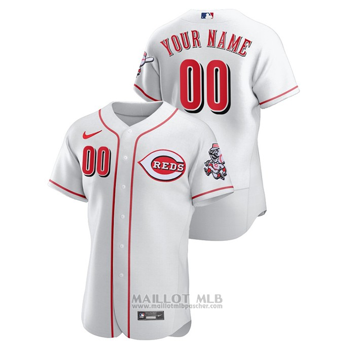 Maillot Baseball Homme Cincinnati Reds Personnalise Authentique Blanc