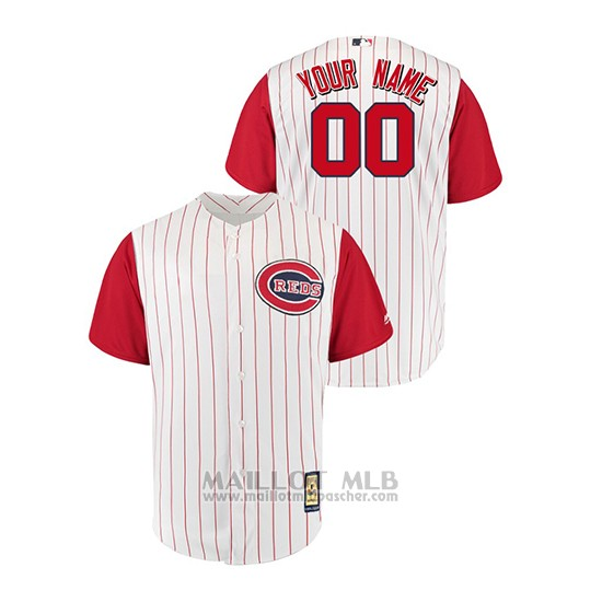 Maillot Baseball Homme Cincinnati Reds Personnalise Throwback 1961 Cool Base Blanc Rouge