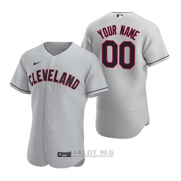 Maillot Baseball Homme Cleveland Indians Personnalise Authentique 2020 Road Gris