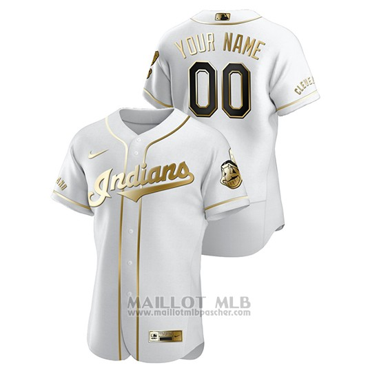 Maillot Baseball Homme Cleveland Indians Personnalise Golden Edition Authentique Blanc
