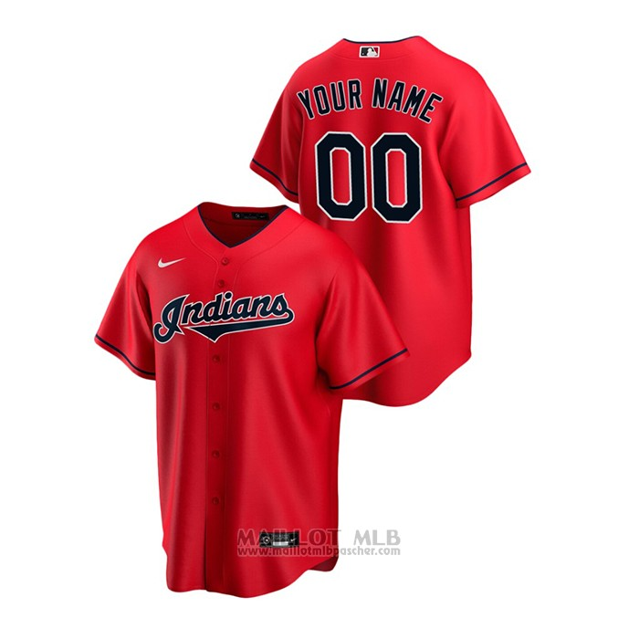 Maillot Baseball Homme Cleveland Indians Personnalise Replique Alterner Rouge