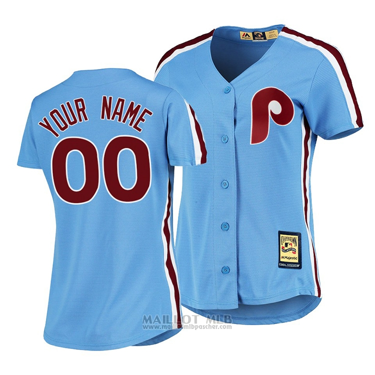 Maillot Baseball Femme Philadelphia Phillies Personnalise Cooperstown Collection Road Bleu