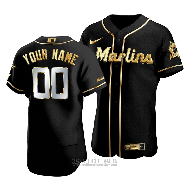 Maillot Baseball Homme Miami Marlins Personnalise Golden Edition Authentique Noir