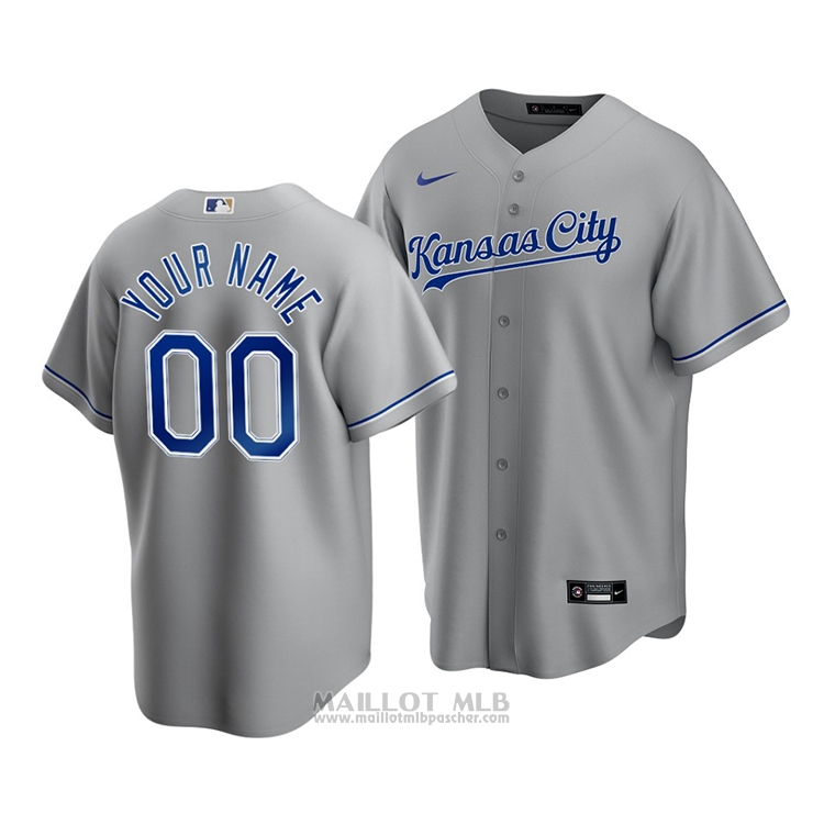Maillot Baseball Homme Kansas City Royals Personnalise Replique Cool Base Road Gris