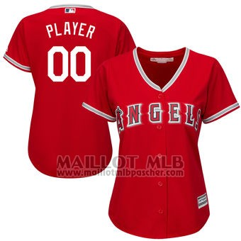 Maillot Baseball Femme Los Angeles Angels Personnalise Rouge