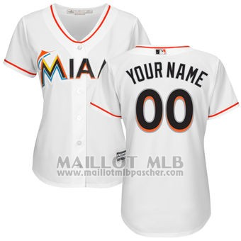 Maillot Baseball Femme Miami Marlins Personnalise Blanco