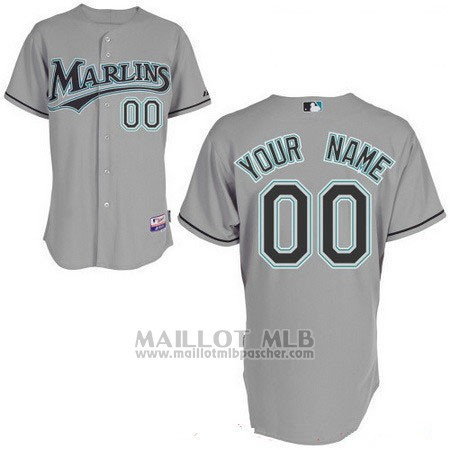 Maillot Baseball Femme Miami Marlins Personnalise Gris
