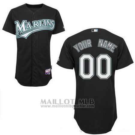 Maillot Baseball Femme Miami Marlins Personnalise Noir