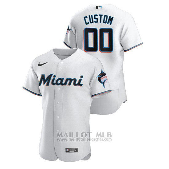 Maillot Baseball Homme Miami Marlins Personnalise Authentique Nike Blanc