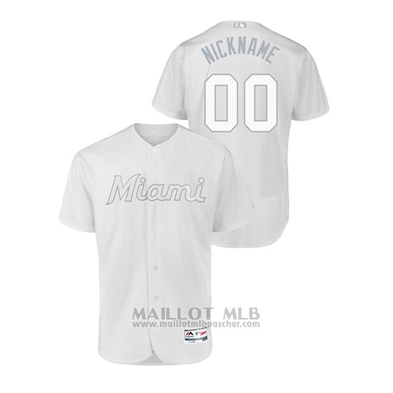 Maillot Baseball Homme Miami Marlins Personnalise 2019 Players Weekend Authentique Blanc