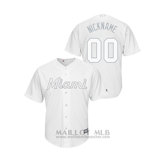 Maillot Baseball Homme Miami Marlins Personnalise 2019 Players Weekend Replica Blanc